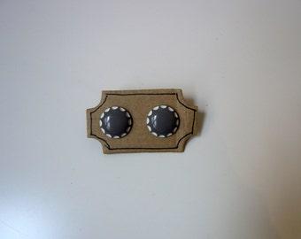 Handmade Button Statement Earrings Gray White
