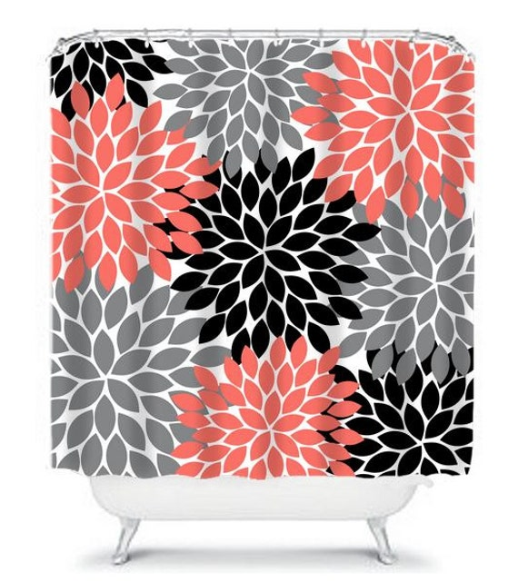 Items Similar To Coral Gray Black SHOWER CURTAIN Flowers