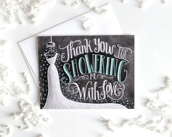 Bridal Shower Thank You Card, Bridal Thank You Card, Chalkboard Art, Wedding Thank You Card, Thank You Bridal Shower, Chalk Art,
