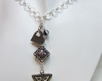 Antique silver triangle & heart necklace