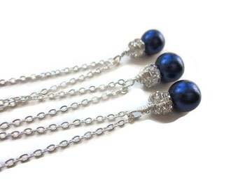 CHOOSE YOUR COLOUR bridesmaid necklace, bridesmaid gift, wedding set, bridesmaids gift set, royal blue pearl, jewellery uk
