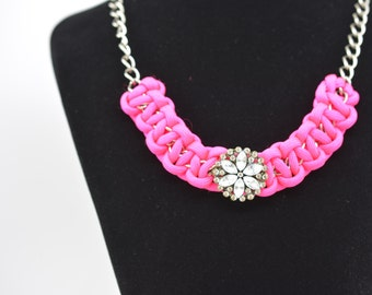 Paracord Necklace, Paracord Chain Necklace, Hot Pink Paracord Necklace,  Paracord Sparkle Necklace