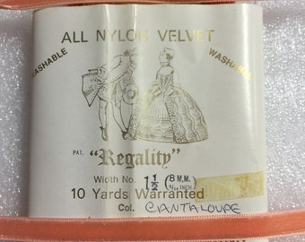 10 Yards of Vintage 3/8 Wide Ribbon. Cantaloupe Colour Made in England.
