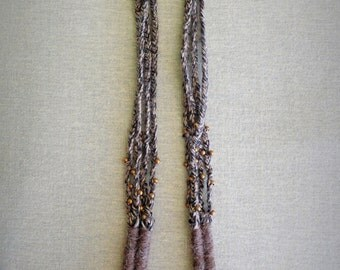 Long Fiber statement necklace, Alpaca wool necklace, Hand wrapped jewelry, Long natural winter necklace, Tribal inspired