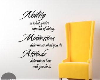 Inspirational Phrase Ability Motivation Attitude Vinyl Wall Decal Sticker