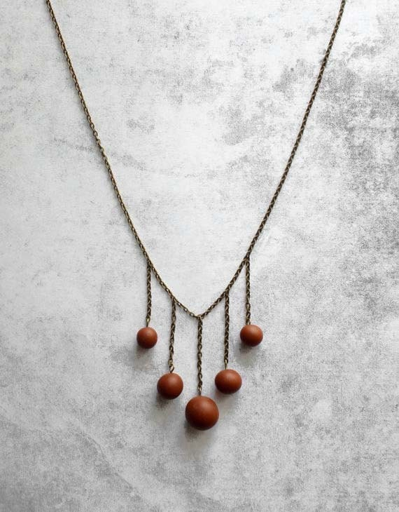 brown beaded necklace for her unique minimal modern handmade