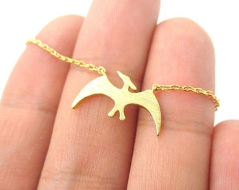 Pterodactyl Dinosaur Shaped Animal Charm Necklace in Gold | Handmade Animal Jewelry
