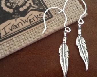 Feather Earrings Boho Earrings Women's Earrings Oxidized Silver Teen earrings Sterling Silver Earrings trendy jewelry