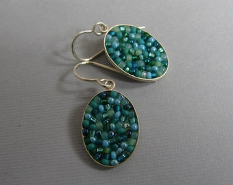 Green Mosaic Sterling Drop Earring, forest green bead, turquoise green bead, sterling french earwire, bridesmaid jewelry, Alabama metalsmith