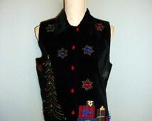 Christmas Vest Size Small Black Velvet Vest Women Christmas Clothing Holiday Clothing Christmas Tree FREE SHIPPING Medium Women Clothing