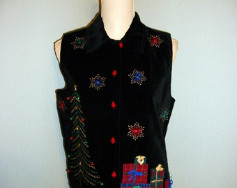 Christmas Vest Size Small Black Velvet Vest Women Christmas Clothing Holiday Clothing Christmas Tree FREE SHIPPING Medium Women Clothing
