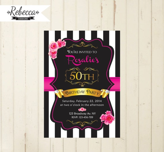 Black White And Pink Woman Birthday Invitation 21st