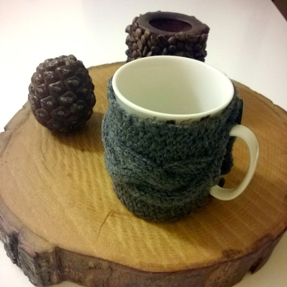 Items similar to Grey Knit Cozy Cup Holder, Gray coffee ...