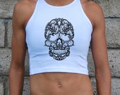 Skull Crop Top - Day of the Dead - Embroidered- American Apparel