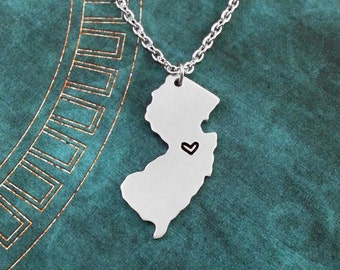 New Jersey Necklace Personalized Jewelry Hand Stamped Long Distance Relationship Girlfriend Gift Couples Necklace Heart Map State Necklace