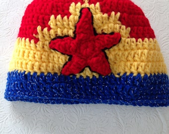 Wonder Women Hat, Crochet Beanie Hat, Wonder Women Accessories, Womens Hats, Girl's Hat, Super Girl's Hats, Superhero Hats, Wonder Woman