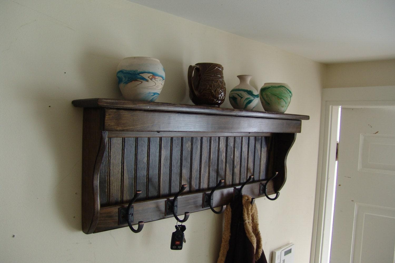 35 handcrafted wood wall mount coat rack display shelf. Black Bedroom Furniture Sets. Home Design Ideas