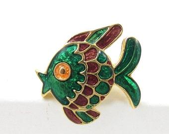 Small Green Enamel Ivana Fish Pin Gold Tone Brooch Shawl Scarf Pin Unusual Aquatic GoldFish Blow Fish Gift Vintage Estate Designer Signed