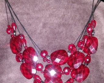 Triple Strand Red Faceted Glass Crystal Bead Bib Necklace