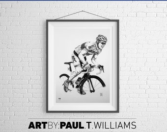 Philippe Gilbert cyclist art print poster drawing