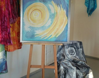 Painting on silk Original Artwork Sun Exclusive gift Hand Painted Silk