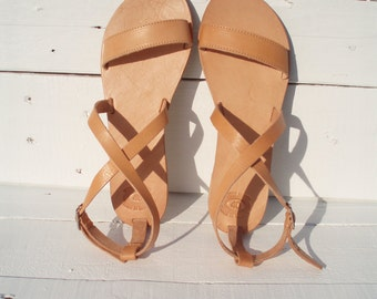 Leather sandals, Handmade Greek Leather sandals, Natural Color Women's