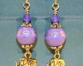 Purple Etched Elephant Earring, Purple Elephant Earring, Gold Elephant Earring, Purple Jade Earring, Elephant Earring, Yoga Jewelry
