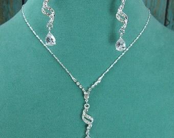 Crystal Rhinestone CZ Jewelry Set, Crystal Wedding Necklace Set, bridal jewelry set, wedding jewelry, bridesmaid jewelry set 210708878