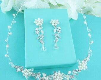 Freshwater pearl CZ jewelry set, CZ Pearl Wedding Necklace Set, bridal jewelry, wedding jewelry, cz jewelry set, pearl jewelry set,221663454