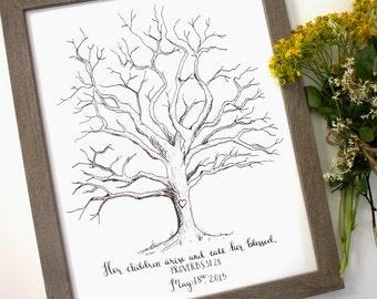 Guestbook Thumb Print Tree Sketch, Customizable