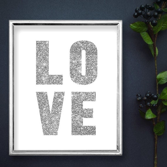 Silver glitter love printable modern glitter by for Modern silver home accessories
