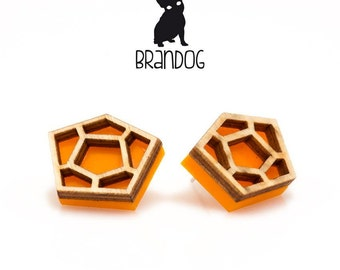 Brandog earrings made from acrylic laser cutting and plywood