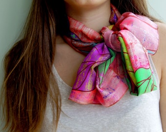 Lightweight long silk scarf, hot pink scarf, colourful scarf, leaves pattern trendy accessories, silk gift ideas for women, mother's gift