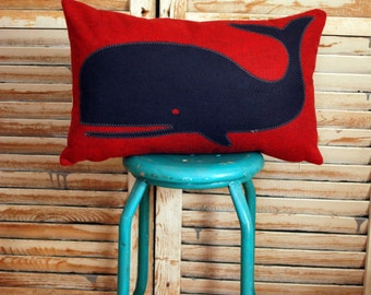 Navy and Red Whale wool felt throw pillow, chair pillow,  rectangular, lumbar pillow, coastal home, beach house decor, The Salty Cottage
