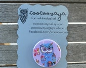 Owl button pin/badge with illustration, metal brooch, art pin, party favor, accessories