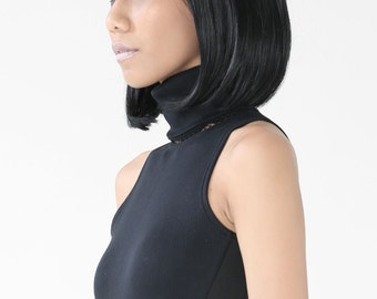 The Helios Crop (Black) - Turtle Neck/ Crop Top