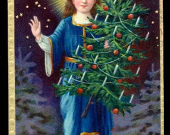 Merry Christmas Boy/Child & Tree 1907 Postcard