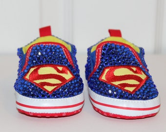 Bedazzled Superman Baby Shoes-Sparkly, Bling