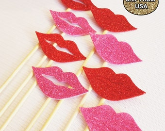 11Pc Photo Booth Props, Glitter Lips, 100% Felt, Photobooth Props, Photo Props, Wedding Photo Booth props, Birthday Photo Booth Props, Event