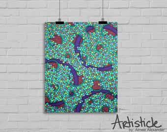 Teal Art Print - Rainbow Artwork - Purple Art - Modern Home Decor - Girls Room Art - Abstract Art -Geometric Print - Colorful Artwork
