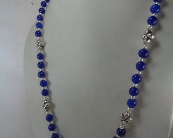 Natural Blue Sapphire Beaded Necklace, September Birthstone Necklace, Gift for Her