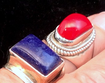 Size 6 or 6.5 Sterling Silver Ring. Blue Lapis .  free US ship
