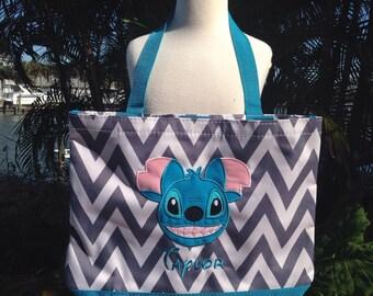 Chevron Tote/Beach Bag - Stitch inspired Disney - Free Name or monogram