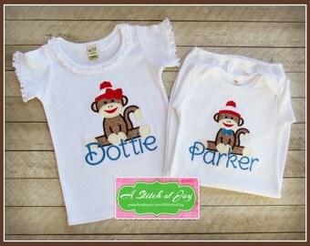 Sock Monkey Layette Gown, Bodysuit or Shirt, Sock Monkey Girl, Sock Monkey Boy