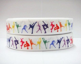 Ice Skating 7/8 Inch Grosgrain Ribbon by the Yard for Hairbows, Scrapbooking, and More!!