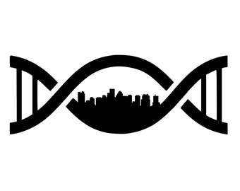 Boston in my DNA (Boston Skyline in DNA Helix) - Car/Truck/Home/Computer/Laptop/Phone Decal