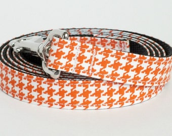 Orange Houndstooth Dog Leash