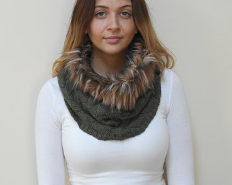 Free shipping in USA- Cold Weather Green Tube Knit Scarf with Faux Fur Top / Women's winter fur tube knit scarf/ gift for her