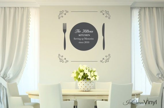 Kitchen Family Name Wall Decal for Kitchen Dining Room Vinyl Decor Vinyl Lettering