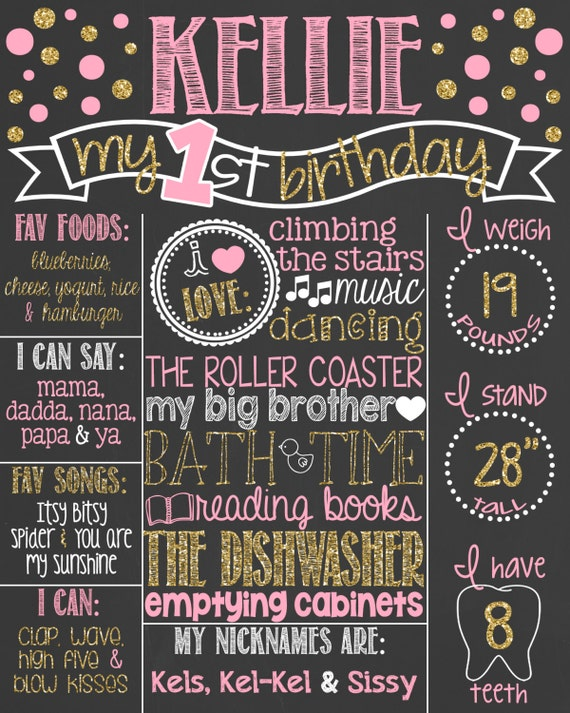 Pink and gold glitter first birthday by personalizedchalk on etsy for First birthday board template